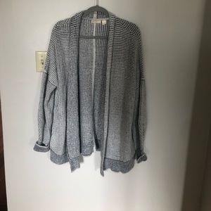 Anthropologie Slouchy Grey and White Cardigan